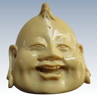 Vintage Molded Resin Smiling Buddha Face Pendant