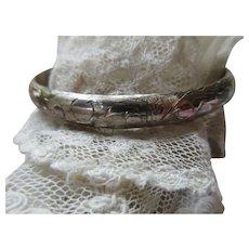 Vintage Sterling Chased Bangle Bracelet