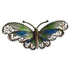 Vintage 1930s Plique A Jour Enameled Butterfly Pin