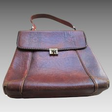 2530d2b57cff Arts and Crafts Meeker Large Tooled Leather Handbag