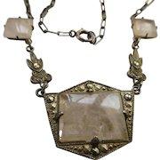 Vintage 1920s Sterling Rose Quartz Necklace  Art Deco Era