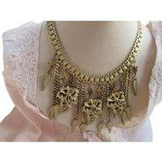 Vintage Retro Book Chain Bib Necklace Calla Lilies