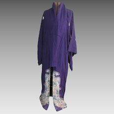 Vintage Long Purple Japanese Kimono  1930s Older Vintage
