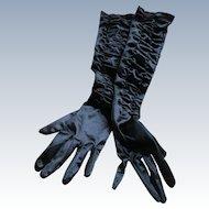 Vintage Long Black Satiny Dress Evening Gloves