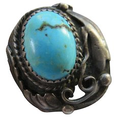 Vintage Native American Sterling Turquoise Ring Size 11  Signed F. Tom