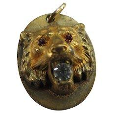Antique Repousse Lion Fob Charm