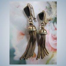 Victorian 14K Fox Tail Tassel Earrings on Antique Wires