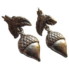 Vintage Danecraft Sterling Acorn Screw Back Earrings