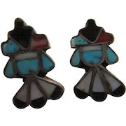 Vintage Zuni Native American Thunderbird Screw Back Earrings