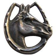 Circa 1910 Sterling Top Equestrian Horse Pin