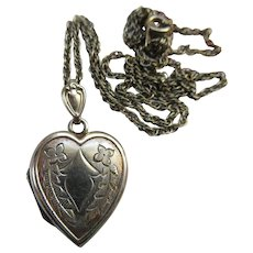 Vintage Sterling Heart Locket Necklace
