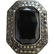 Vintage Deco Sterling Onyx Marcasite Ring TLC