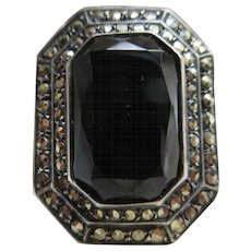 Vintage Deco Sterling Onyx Marcasite Ring TLC
