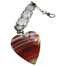 Antique Watch Chain with Banded Agate Heart Fob