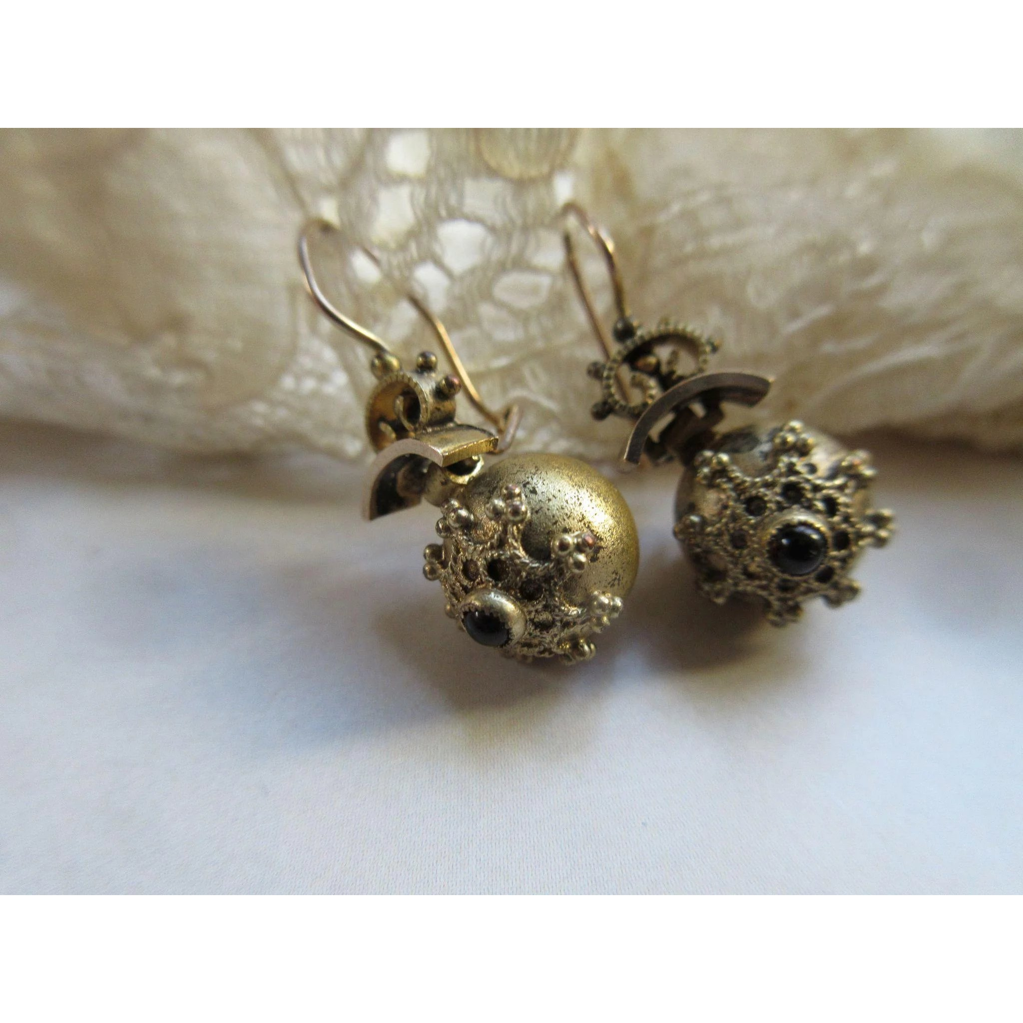 gold earrings jewelry scrolls w pearls shop victorian sentimental english antique turquoise