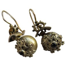 Antique Victorian Gold Fill Pierced Earrings in Old Box