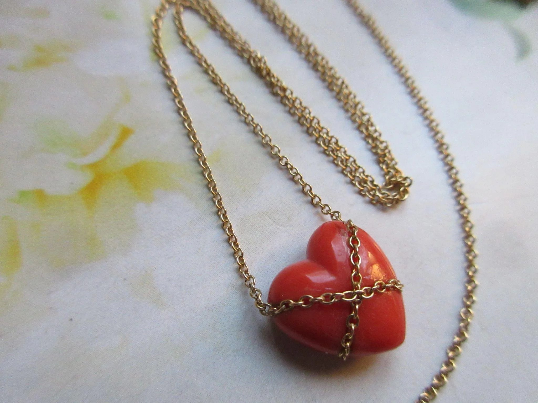 Tiffany Amp Co Natural Salmon Coral 14k Heart Necklace