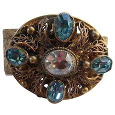 Vintage 30s Brass Filigree and faceted Stones Bangle Bracelet