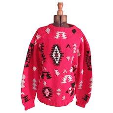 Vintage Ralph Lauren Polo Native American Sweater : Vintage Ralph Lauren : Lauren Clothing : Red Sweater : Winter Sweater : Over sized Sweater
