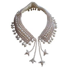 Vintage 1950s Faux Pearl Collar Necklace