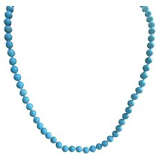 Vintage Turquoise Beaded Necklace 585 Gold Clasp