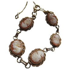Vintage Carved Shell Cameo Bracelet in Gold Fill