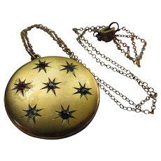 Antique Paste Star Burst Locket Necklace in Gold Fill