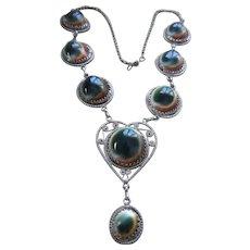 Older Vintage Operculum Shell Silver Filigree Necklace