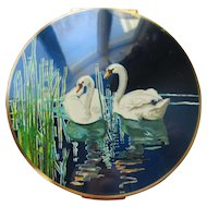 Vintage Stratton Enameled Swans Compact