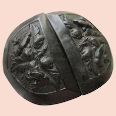 Antique Victorian Molded Floral Vulcanite Buckle