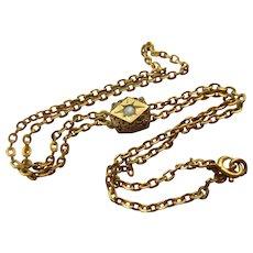 Victorian Antique Ladies GF Watch Chain Slide Bracelet 10K Opal Slide
