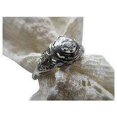 Vintage Deco 14K White Gold Filigree Diamond Ring