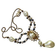 Vintage 30s Signed Czechoslovakia Faux Pearl Necklace