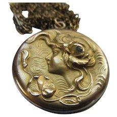Antique Art Nouveau Lady Locket Necklace in Gold Fill
