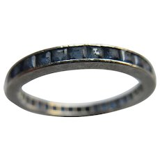 Vintage Platinum Channel Set Sapphire Ring Eternity Band