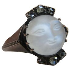 Antique 10K Carved Moonstone Rose Cut Diamond Ring  Man On The Moon