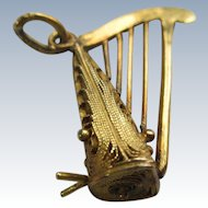 Vintage 10K Harp Charm  Musical Charm