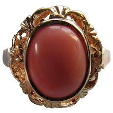 Vintage Angel Skin Coral 14K 585 Ring