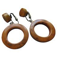 Vintage Bakelite Hoop Earrings