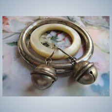 Edwardian Sterling Silver Jingle Bell Baby Rattle and Vintage Sterling Teething Ring Rattle