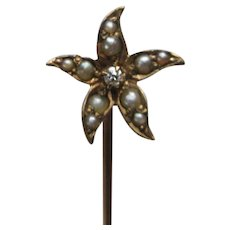 Antique 10K Diamond Seed Pearl Flower Stick Pin