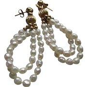 Vintage Estate 14K Fresh Water Pearl Dangle Pierced Earrings