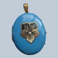 Victorian Antique 10K Blue Enameled Pansy Locket