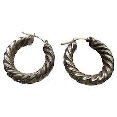 Vintage Milor Sterling Italian Hoop Earrings