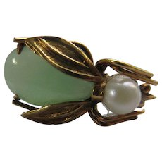 Vintage 14K Jade Cultured Pearl Bug Tie Tac Lapel Pin
