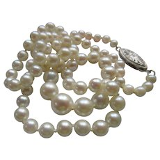 Vintage 17'' Cultured Pearl Necklace White Gold Filigree Clasp