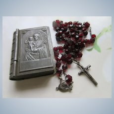 Vintage Czech Saint Joseph Rosary Holder with Remnants of Old Rosary