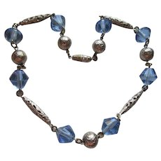 Vintage 40s Blue Crystal Necklace