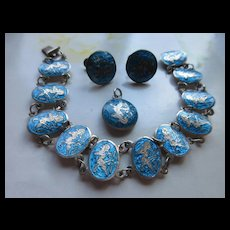 Vintage Siam Silver Enameled Bracelet Screw Back Earrings and Pendant