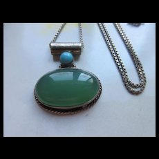 Vintage Sterling Chrysophase Turquoise Necklace